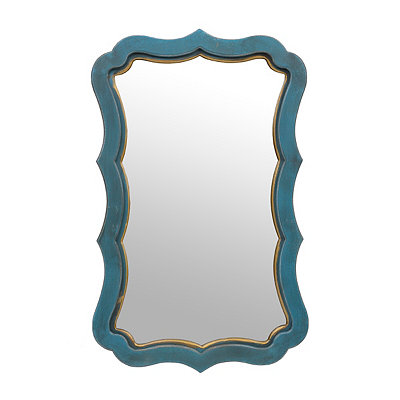 Elsa Distressed Blue Decorative Mirror, 20x31.5