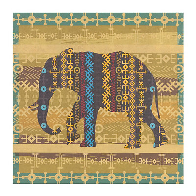 Elephant Tribal Wildlife Canvas Art Print