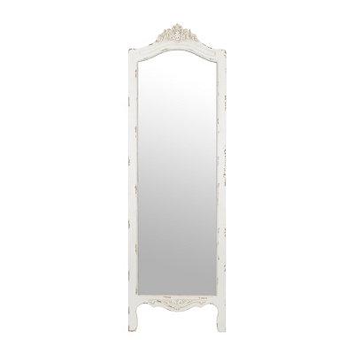 Cottage White Ornate Cheval Mirror