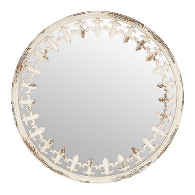 Distressed White Fleur-de-lis Mirror, 24.75 in.