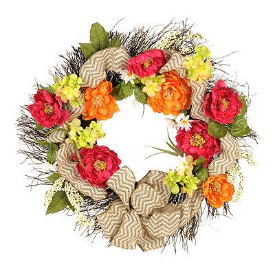 Spring Peony Burlap Ribbon Wreath
