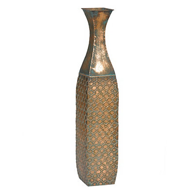 Distressed Copper Verdi Metal Floor Vase