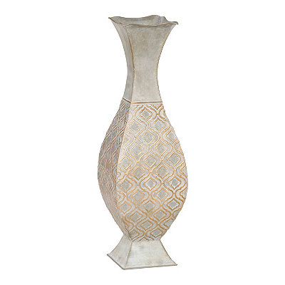 Zinc and Gold Geometric Metal Floor Vase