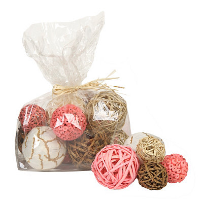 Coral & Brown Dried Orb Set