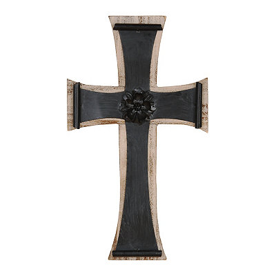 Ivory And Black Cross Plaque