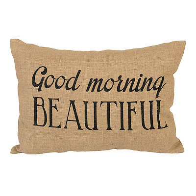 Good Morning Beautiful Burlap Pillow