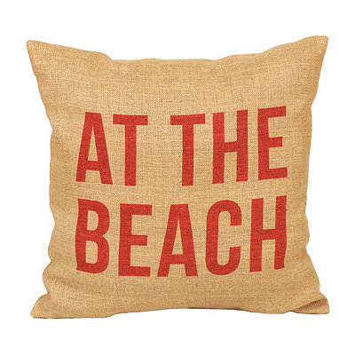 At The Beach Burlap Pillow