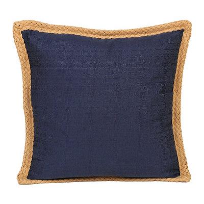 Navy Jute Linen Pillow