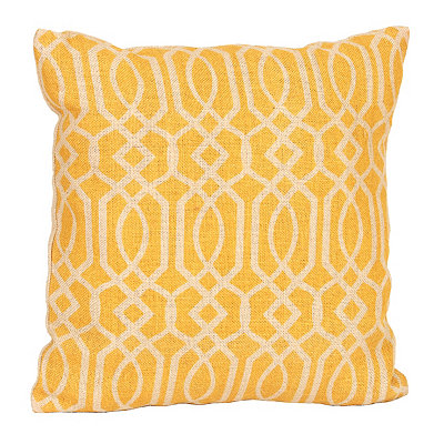 Yellow Geometric Burlap Pillow