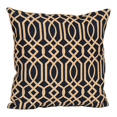 Navy Geometric Burlap Pillow
