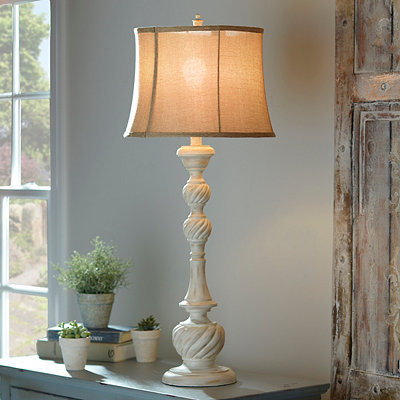 Weathered White Table Lamp