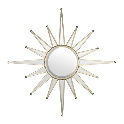 Antique Silver Starburst Mirror, 33 in.