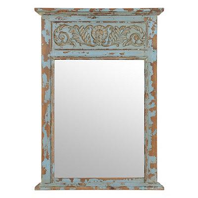 Distressed Blue Trumeau Mirror, 26.5x37.25