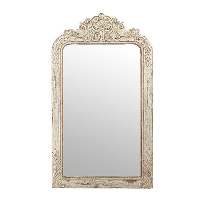 Ornate Ivory Victorian Framed Mirror, 28x49