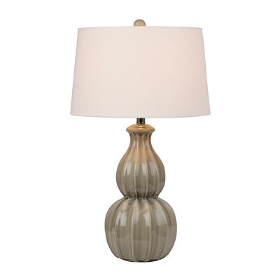 Fluted Gray Ceramic Table Lamp