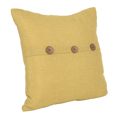 Yellow Buttoned Linen Accent Pillow