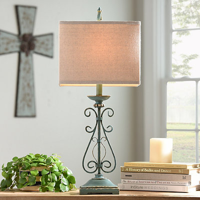 Avignon Blue Metal Table Lamp