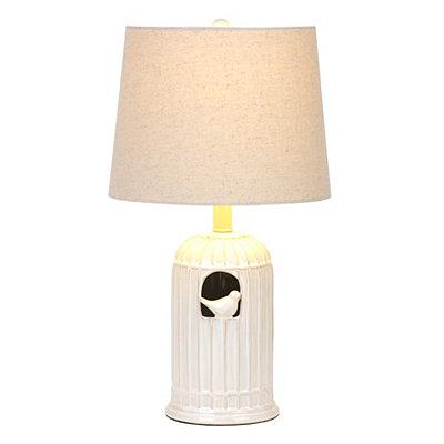White Ceramic Bird Cage Table Lamp
