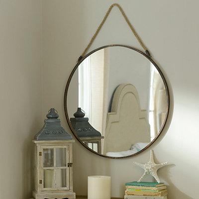 Bronze Metal Round Mirror, 30 in.