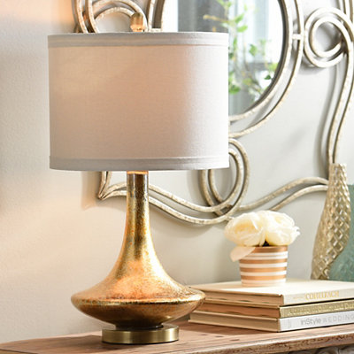 Mid-Century Gold Glass Table Lamp
