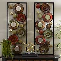 Mirrored Spirals Metal Plaques, Set of 2