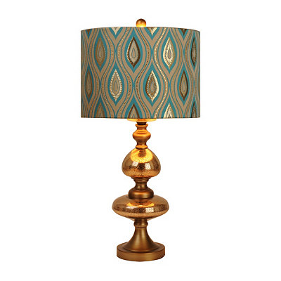 Regal Peacock Gold Glass Table Lamp