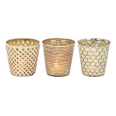 Distressed Metallic Votive Candle Holders
