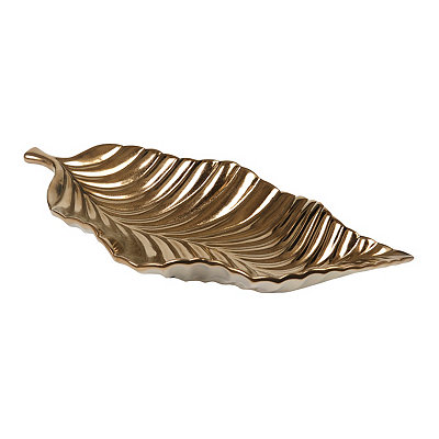 Metallic Bronze Leaf Bowl