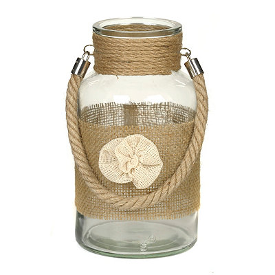 Cream Burlap Flower Lantern