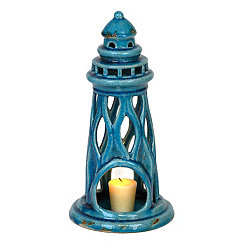 Aqua Ceramic Lighthouse Candle Holder