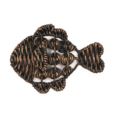 Black Woven Fish Plaque