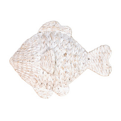 Whitewash Woven Fish Plaque