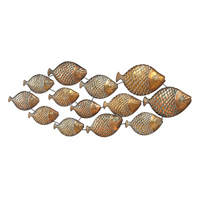 Distressed Gold School of Fish Metal Plaque