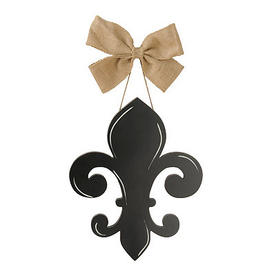 Fleur-de-Lis With Burlap Bow Wooden Plaque