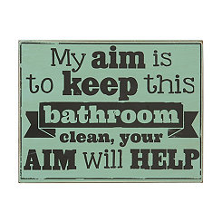Clean Bathroom Wooden Sign