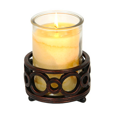 Bronze Circles Jar Candle Holder