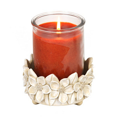 White Floral Jar Candle Holder
