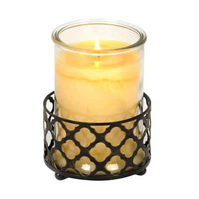 Bronze Quatrefoil Jar Candle Holder