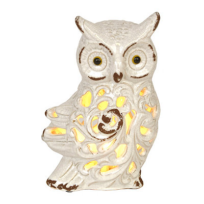 Distressed Cream Owl Night Light