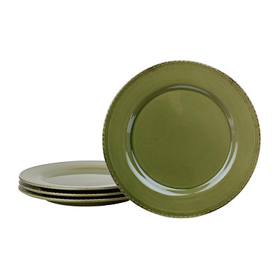 Green Sierra Pine Dinner Plates, Set of 4