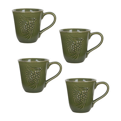 Green Sierra Pine Mugs, Set of 4