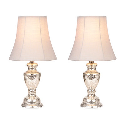 Antique Silver Glass Table Lamps, Set of 2