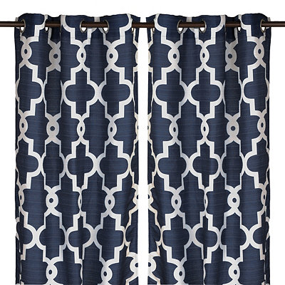 Navy Maxwell Curtain Panel Set, 96 in.