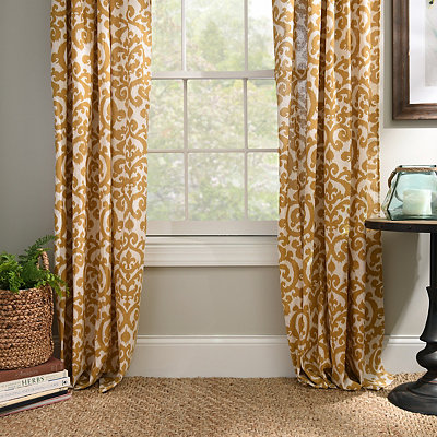 Yellow Darby Curtain Panel Set, 96 in.