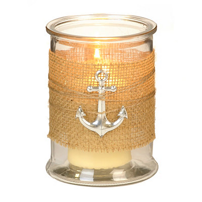 Silver Anchor Burlap-Wrapped Hurricane
