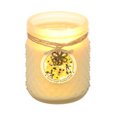 Lemon Sugar Hobnail Jar Candle