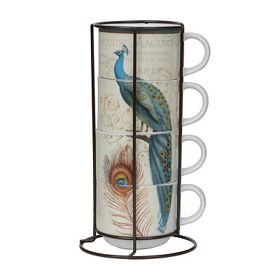 Peacock Stackable Mugs with Stand, Set of 4