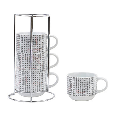 Word Search Stackable Mugs with Stand, Set of 4