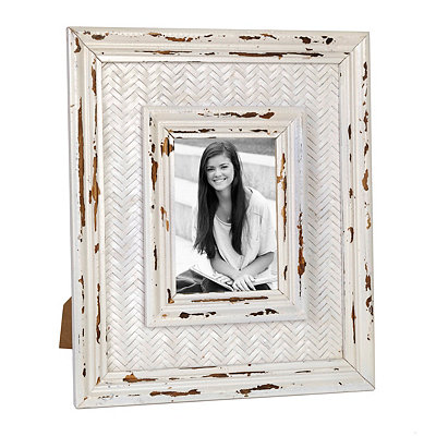 Distressed White Rattan Picture Frame, 5x7