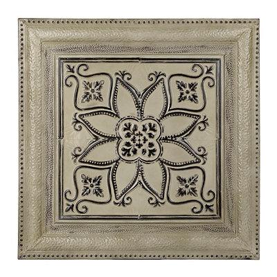 Ivory Floral Metal Tile